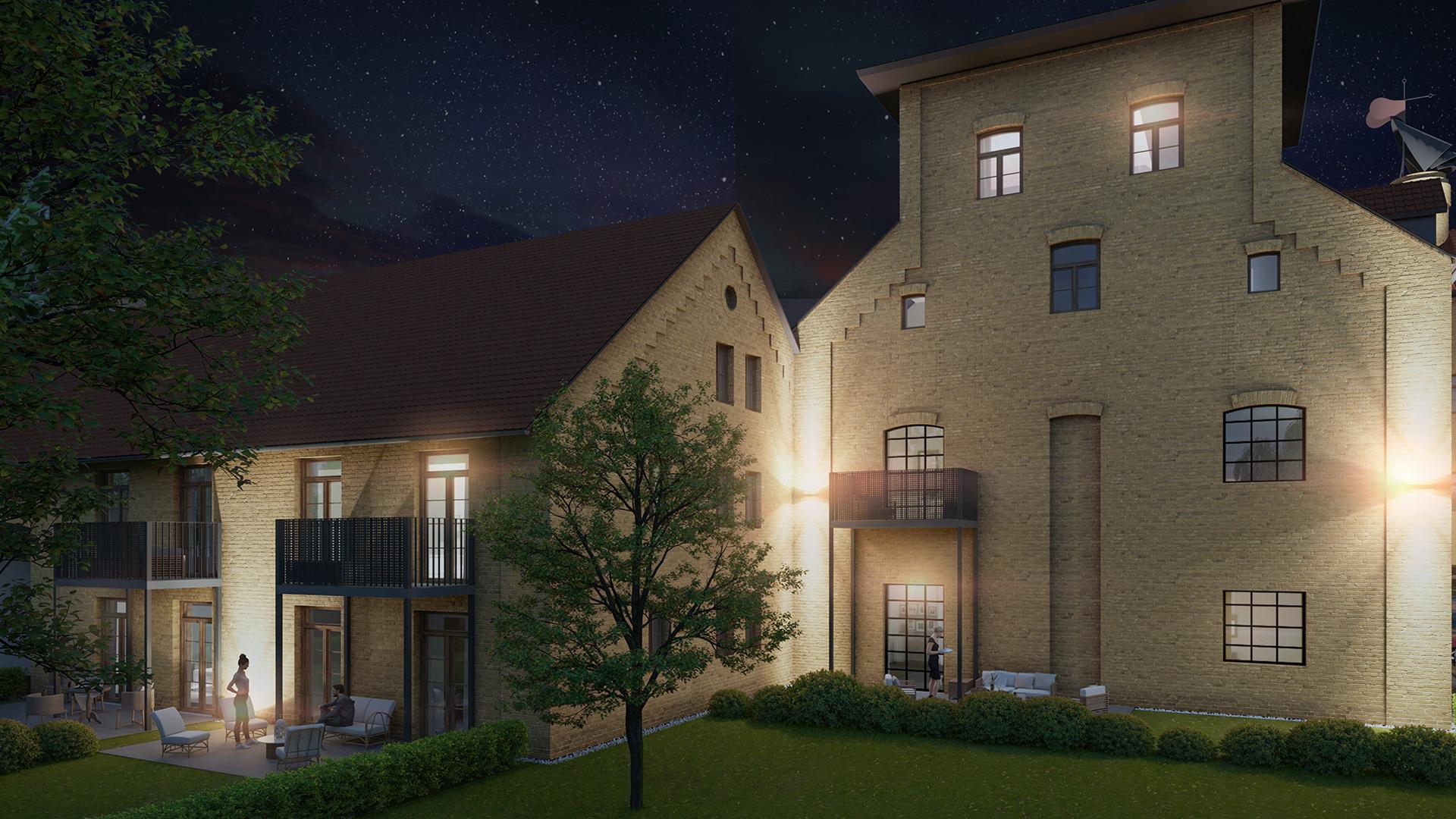 M80 Innenhof bei Nacht